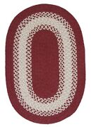 North Ridge Berry Bordered Wool Blend Country Farmhouse Oval Braided Rug