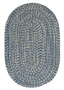 Tremont Denim Blue Tweed Wool Blend Country Farmhouse Oval Round Braided Rug
