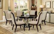 New Art Deco Style Round Table And Chairs - 7 Piece Dining Room Furniture Set Iccq