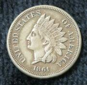 1861 Indian One Cent Clear Date Full Liberty Great Eye Appeal 888