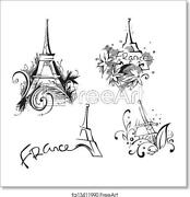 Sketches With Eiffel Art Print / Canvas Print. Poster, Wall Art, Home Decor - D