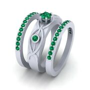 Green Emerald Wedding Ring Band Set Sterling Silver Three Stone Engagement Rings