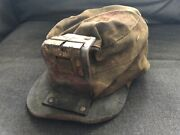 Vintage Coal Miners Hat Cloth Canvas W/ Leather Carbide Lamp Holder 2