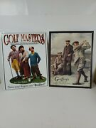 2 Replica Antique Tin Signs Golf 3 Stooges And Gentleman Golf Themed