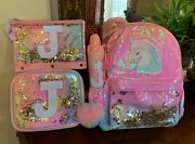 """Justice Girls Unicorn Ombre Shaky Backpack Initial""""j""""lunch Tote Bundle Of 4pcs."""