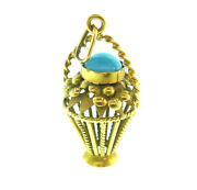 Vintage 18k Yellow Gold Turquoise Flower Basket Charm