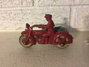 Antique Hubley 1930s Cast Iron Cop Motorcycle With Side Car No Passenger