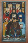 Circa 1880 Chinese Ancestral Portrait Painting Oil Scroll Canvas Part Of Suite