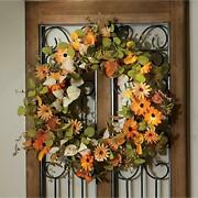 Fall Colored Orange Cosmos Leaves And Berries Wreath On Natural Twig 22 Dia.