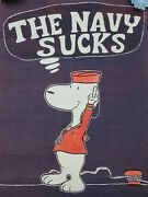 1970and039s Authentic Vietnam Era Protest Poster Lithograph Poster Snoopy Navy Sucks