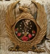 Vtg Tristar Eagle Clock Kitsch Roses Butterfly Second Hand Gold Tone Keeps Time