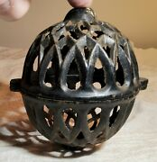 Antique 2-piece Intricately Designed Black Painted Cast Iron String Ball Holder