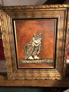 Original Painting Of A Menacing Horned Owl In Solid Wood Frame 1970's D J Murphy