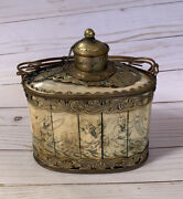 Antique Asian Chinese Scrimshaw Tea Caddy Signed Damaged Needs Repair