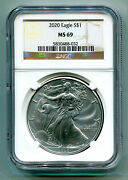2020 American Silver Eagle Ngc Ms69 Classic Brown Label As Shown Premium Quality