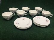 Vintage Atomic Eva Zeisel Harlequin Coffee 7 Cups And 8 Saucers