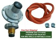 Propane Gas 5 Ft Hose And Butterfly Regulator Kit For Bbq Grills And Portable Stove
