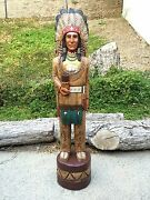 John Gallagher Carved Wooden Cigar Store Indian 6 Ft.tall Very Detailed Buffalo