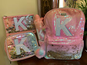 """Nwt Justice Ombré Shaky Initial """"k"""" Backpack Bundle Of 4 Tote H2o Case"""