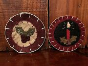 Lot 2 New Primitive Christmas Penny Rug Wool Felt Holly Candle Ornies Ornaments