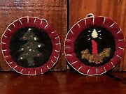 Lot 2 New Primitive Christmas Penny Rug Wool Felt Tree Candle Ornies Ornaments