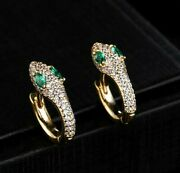 1.90ct Natural Diamond 14k Solid Yellow Gold Emerald Hoop Snap Closure Earring