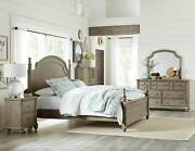 Traditional Natural Brown Solid Wood 5 Pieces Bedroom Set W. King Panel Bed Ia4d