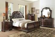 New Traditional Dark Cherry And Marble 5 Piece Bedroom Set W. King Sleigh Bed Ia4t