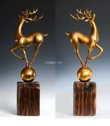 21and039and039a Pair Of Fine Copper Deer Decoration Standing For Wealth And Good Luck