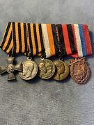 Russian Imperial.miniature Bar Of Order Of St. Georg End 4 Medals.nicholas Ii.