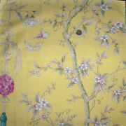 Clarence House Chinoiserie Blossoms Butterflies Berries Fabric 10 Yards Yellow