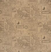 Lee Jofa Kravet Old World Geography Maps Linen Toile Fabric 10 Yards Sand