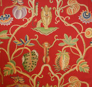 Clarence House Jembala Linen Print Toile Fabric Red Blue Green Multi 10 Yards