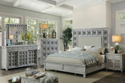 Transitional Gray Finish 5 Pieces Bedroom Set W. Queen Fabric Mansion Bed Icas