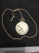 Elgin Co. 10k Gf 1945 Pocket Watch With Simmons Co. 1920's Solid Gold Chain