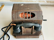 Rare Antique Wood Cabinet Leich Crank Parlor Telephone 30s 40s Wow For Repair