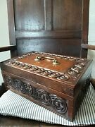 A Super 19th Century Carved Oak Desk Box Country House