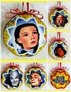 Wizard Of Oz Keepsake Memory 5 Pce Set Quilted Ball Christmas Ornaments New Gift