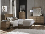 New Modern Natural Brown Bedroom Furniture - 5pcs Queen Low Profile Bed Set Ia5c