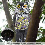 Owl Decoy 360° Rotate Head Sound And Shadow Control Repel Weed Pest Crow Scarecrow