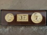 John F Kennedy Commemorative Collectors Set - 1980 Gold Plated Dollar Stamp And