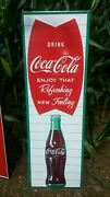 Large Coca Cola Fishtail Soda Pop Gas Station 54 Heavy Embossed Metal Sign Usa