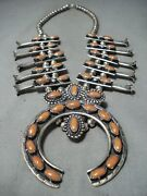 Womenand039s Authentic Vintage Navajo Coral Sterling Silver Squash Blossom Necklace