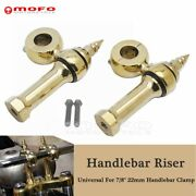 Brass Spear Style 7/8and039and039 22mm Handlebar Riser Mount Clamp For Harley Cafe Racer