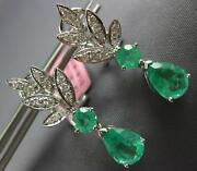 2.78ct Diamond And Aaa Emerald 18kt White Gold Tear Drop Clip On Hanging Earrings