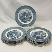 Royal Currier And Ives Dinner Plates 10 Old Grist Mill Lot Of 13