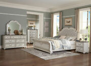 New Traditional Antique White And Brown Bedroom Furniture - 5pcs Queen Bed Set A67