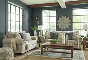 Transitional Living Room Furniture - Gray Chenille 2 Piece Sofa Couch Set Ig1s