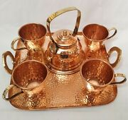Vintage Style Copper Teapot With Copper Tea Cups Set With Kettle And Serving Tray