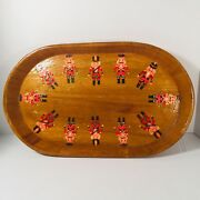 """Lg Vintage Folkart Christmas Hand Made Wooden Tray With Nutcrackers 16""""w 10""""l"""